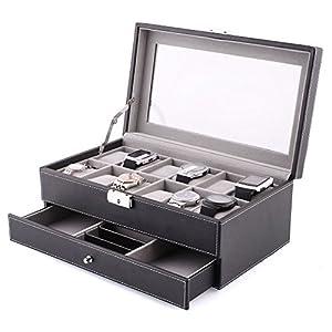 amzdeal Schmuckkasten 12 Gitter Uhrenbox Doppelschicht-Design Schmuckbox Diversifiziertes Design 33×19.5×13.2cm Uhrenkoffer PU-Leder Feierlicher und elegant