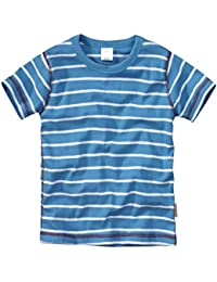 wellyou, Kinder Kurzarm T-Shirt, türkis-weiss, geringelt, für Jungen und Mädchen, 100% Baumwolle