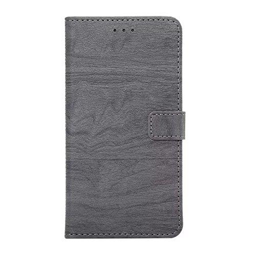 Hölzernes Beschaffenheits-Muster PU-lederner Mappen-Kasten-Abdeckungs-Folio-Standplatz-Fall mit Einbauschlitzen für iPhone 7 Plus ( Color : Rose ) Black