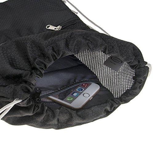 G4Free Unisex Rucksack Gym Sack Sporttasche Turnbeutel für Shopping Yoga Laufsport (Schwarz) Schwarz
