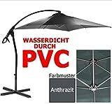 habeig Luxus Ampelschirm 2,5 x 2,5 m Quadratisch Wasserdicht durch PVC Schirm 250x250cm Sonnenschirm (Anthrazit #55)