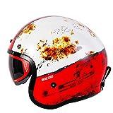 Mdsfe Casco moto casco retro casco aperto nostalgico retro 3/4 mezzo casco casco casque moto con 3 bottoni - 9 XL