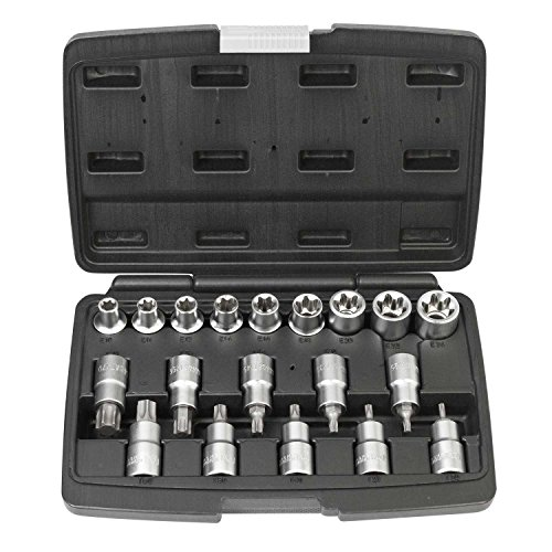 Set chiavi bussola e punte per viti Torx da 19 pezzi con attacco 1/2 pollice | WIESEMANN 80195 | lega acciaio in cromo e vanadio | per viti Torx interne ed esterne | speciale | valigetta per trasporto