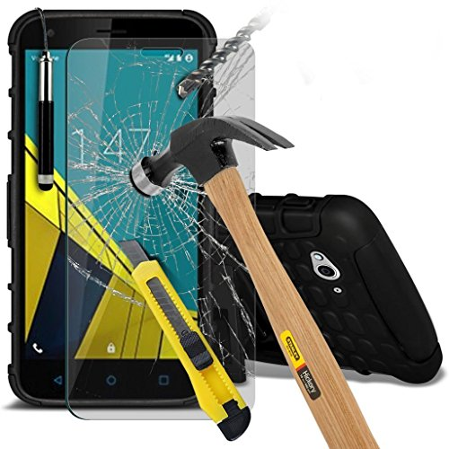(Schwarz mit Pen) Vodafone Smart Ultra 6 hülle stoßfest von Hybrid robustes Dual Layer Schwerlast Fall-Abdeckung mit Standplatz-Funktion ausgeglichenes Glas-Hartglas Bildschirmschutz - versenkbaren Stift
