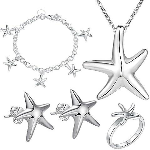 V-EWIGE Joyería de plata de la joyería conjunto de elementos de Swarovski con Encanto 925 pulseras de los pendientes pendientes del collar del sistema del anillo de la Mujer + bolsa de regalo