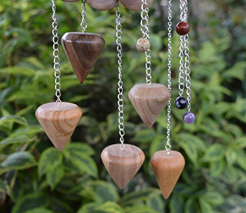 Wooden Pendulum Bespoke Made from Ash, Oak, Alder, Hazel, Yew, Walnut, Olive or Spalted Birch all handturned in Devon with crystal bead and chain
