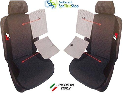 Par de schienali para coche. Fundas para asientos universales personalizadas para Seat Altea con bordado de hilo color FR. Bianco Rosso
