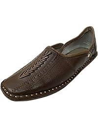 Paso n hecho a mano de estilo Slipper JUTTI Hombres Piel Mojari Punjabi tradicional Flipflops, color Negro, talla 44 EU