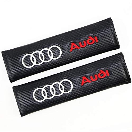 Fireman's Pair New Carbon Fiber Seat Belt Cover Shoulder Pad Cushion for A4L A3 A6L Q3 Q5 A1 A6 A7 A8L Q7 S3 S5 RS3 RS6 RS7 tts tt rs All Model Black (Audi Logo)