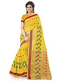 Royal Export Women's Yellow Cotton Silk Saree