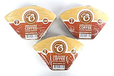 300 Size 2 Coffee Filter Paper Cones, Unbleached by EDESIA ESPRESS
