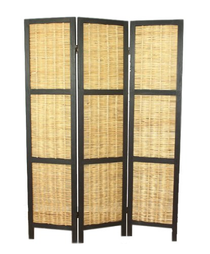 PEGANE Biombo de madera natural crudo mimbre negro de 3 paneles