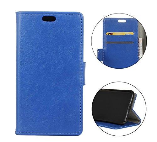 Sunrive Hülle Für Alcatel A7 XL, Magnetisch Schaltfläche Ledertasche Schutzhülle Case Handyhülle Schalen Handy Tasche Lederhülle(Crazy-Pferd blau)+Gratis Universal Eingabestift