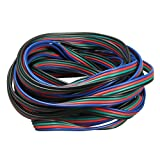 SODIAL(R) 4 broches Cable de connecteur cable cordon d'extension pour RGB LED Strip 3528 5050 connecteur colore 5 M