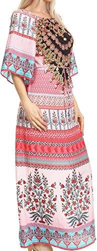Sakkas Efiya Lange Printed Kaftan weg von der Schulter gekräuseltes Tie-Taillen-Maxi Kleid 17034-Rosa / Turq