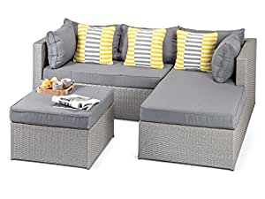 Calabria Outdoor Grey Rattan Sofa with Coffee Table and Footstool, 3 Seat Grey Rattan Wicker Garden Furniture - Fully Assembled
