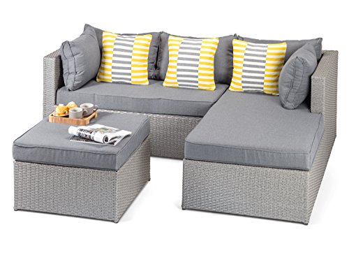 Calabria Outdoor Grey Rattan Sofa with Coffee Table and Footstool, 3 Seat Grey Rattan Wicker Garden Furniture – Fully Assembled