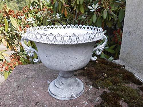 Deko-Impression Übertopf Amphore Pflanztopf Vase Pokal Kelch Eisen Antik-Look grau