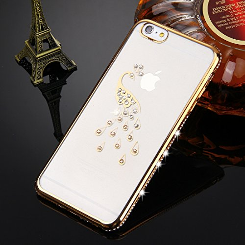 FBA-KrygerShield® Diamond Apple iPhone 6S, 6 Gel Case - Gold Gold (Peacock)