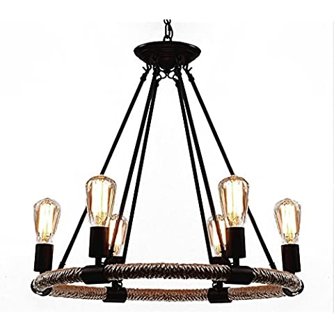 Vashti lámpara colgante lámpara de techo colgante Americanas lámpara de techo/esstischlampe/lámpara lámpara de techo Loft Vintage cuerda de techo antiguo retro lámpara colgante 6luces 25Inch ancho disignjet