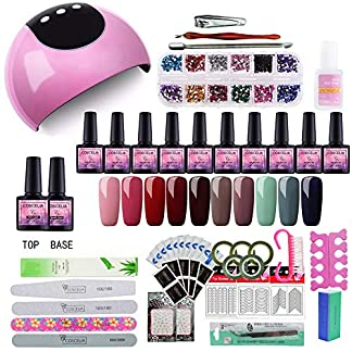 Saint-Acior 24W UV/LED Lámpara Uñas Secador de Uñas 10PCS Esmalte de Uñas Semipermanente Uñas de Gel Soak off 8ml Nail Dryer Capa Base Capa Superior Manicura Kit