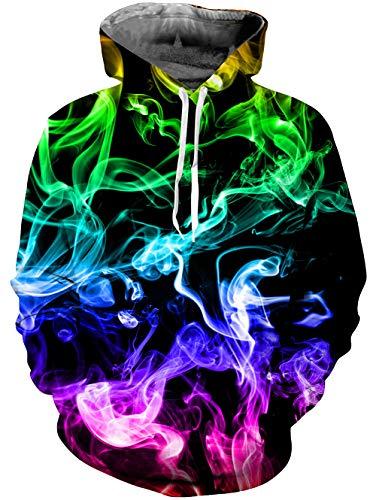 uideazone Herren Kapuzenpullover 3D Druck Bunt Rauch Hoodies Cool Langarm Pullover Kapuzen-Sweatshirt Kapuzenjacke,S-M,A Bunter-rauch