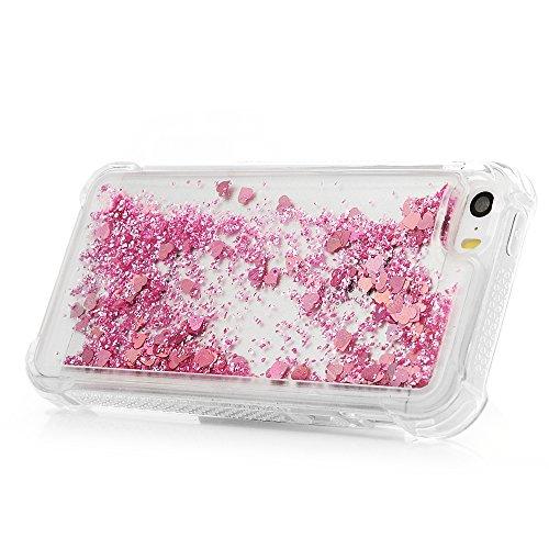 iPhone 5S Cover Silicone e Bling Glitter Brillanti, iPhone 5 SE Custodia Morbida TPU Flessibile Gomma QuickSand - MAXFE.CO Case Ultra Sottile Cassa Protettiva per iPhone 5/5S/SE - Rosa Caldo Oro Rosa