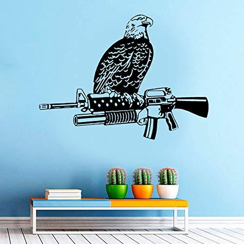 Home Decor Vinyl Decal Eagle Bird Sitting On Machine Gun Weapon Hawk Art Wall Sticker Room Shooting Training Poster Mural56x42cm