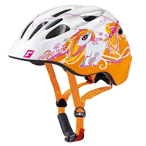 Fahrradhelm Kinder Cratoni Akino, white-orange glossy pony, Gr. S (49-53 cm)