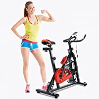 Indoor Cycling Exercise Bike Aerobic Fitness Training Spinning Bike Cardio Workout Home Cycling Racing Machine, Direct Belt Driven 10kg 13kg 18kg Flywheel with Adjustable Friction Resistance, Emergency Stop System, Ergonomic Handlebars with Heart Rate Sensors- Warranty 12 Months Home Use