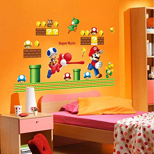 WUDHF Spiel Super Mario Wandaufkleber Für Kinderzimmer Dekoration Cartoon Wand Kunst PVC Poster Schälen Und Stick Wandtattoos