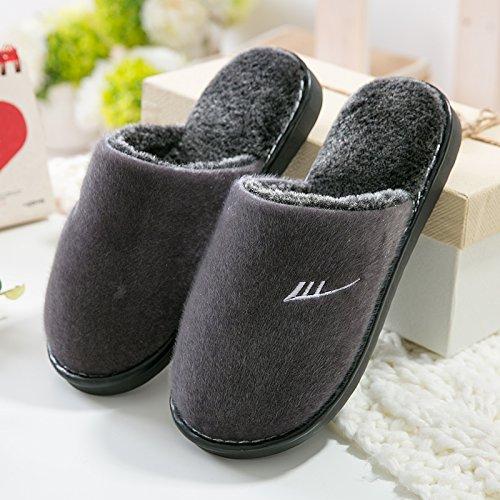 Mayuan-Einfache japanische Art-Herbst-Winter-Ausgangshefterzufuhren bequeme warme Sandelholz Loafer,Nachahmung Nerz Stoff Baumwollpantoffeln ,39-40,male- Grau