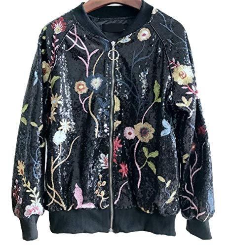 IWFREE Damen Bomberjacke Bomber Jacke Piloten Pailletten Stickerei Blume Outwear Cardigan Coat Kurz Lose Baseball Mantel mit Stehkragen...