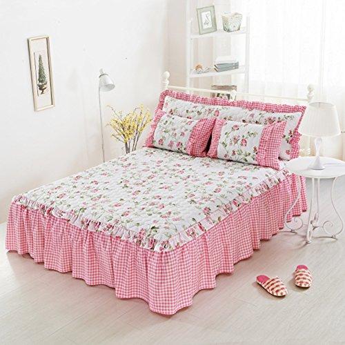 HAOLY Couvre-lit lit Jupe Coton Monobloc Manchon de Protection 1.5 1.8 2.0m Riz lit été lit Couverture Anti-dérapants-P 150x200x45cm(59x79x18inch)