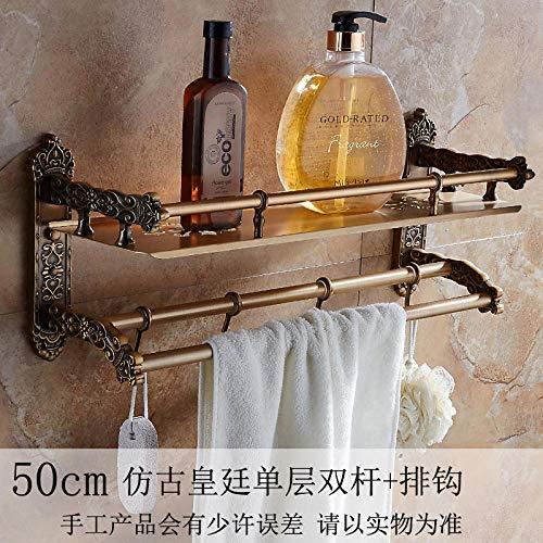 tuudy Retro Badzubehör Handtuchhalter Pfosten Kosmetik Bad frei Stanzen Royal Lagerregal@50cm einlagiger zweipoliger Schäkel