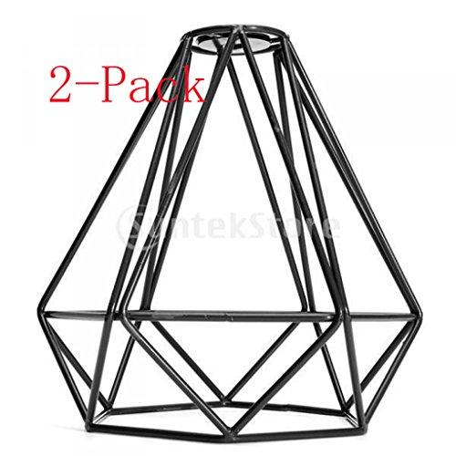 Sharplace 2pcs Vintage Metall Diamant Design, Hängelampenschirm Deckenleuchte Lampenschirme Käfig Dekor - Schwarz, 20x20cm -