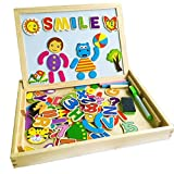YIXIN Wooden Magnetic Drawing Sketchpad Board with 90 Pieces Animal Letters Numbers Multi-functional Chalkboard Educational Toys for kids 3 Years Old+