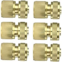 """6Pcs Brass Garden Lawn Water Hose Pipe Fitting 1/2"""" Quick Connector"""