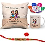 "Indigifts Rakshabandhan Gifts For Brother Memories With Brother Quote Printed Gift Set Of Cus 12""x12"" With Filler, Mug 330 Ml, Crystal Rakhi For Brother, Greeting Card & Tika - Raksha Bandhan Gifts, Best Rakhi Gifts For Brother, Rakhi For Br"