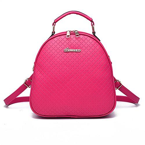 RFVBNM Frauen Rucksack Mode kausale Taschen hochwertige Damenrucksack Mini Tasche weibliche Schultertasche PU Leder Rucksäcke für Mädchen Bestes Geschenk für Mädchen, schwarz Rose Rot