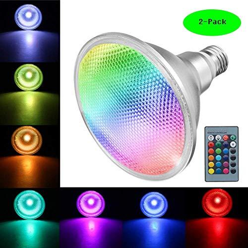 ampe 20W E27 Dimmbar Spotlicht Wasserdicht IP65 Aluminium Glühbirne RGB Farbwechsel Licht Leuchtmittel mit Fernbedienung 120Grad (2-Packs), NXZ02 ()
