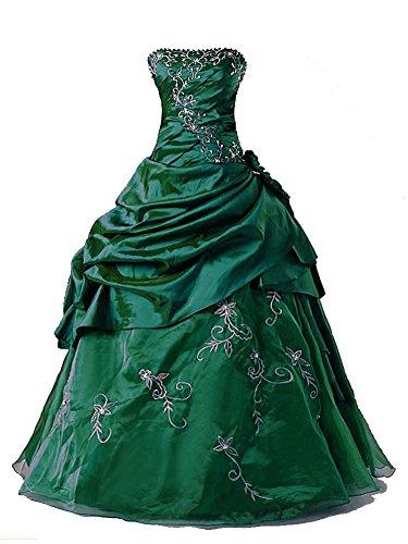 Vantexi Damen Formales Taft Abschlussball Kleid Ballkleid Quinceanera Kleider Smaragd Größe 52