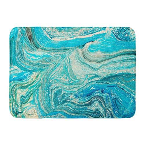 artyly Anti-Rutsch-Fußmatten für drinnen und draußen, Aquarell-Marmor-Blau Marmorierung kreativer Abstrakter Ölwellen flüssige Farbe langlebige Home Decor Matte 59,9 x 39,9 cm