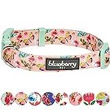 Blueberry Pet Frühlingsduft Inspiriertes Rosen- und Schmetterlingmuster Pastell-Pink Hundehalsband, M, Hals 37cm-50cm
