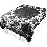 TAOtTAO Halloween Spiderweb Tablecloth Black Lace Bat Spider Party Table Decor Curtain (B, 156x216cm)