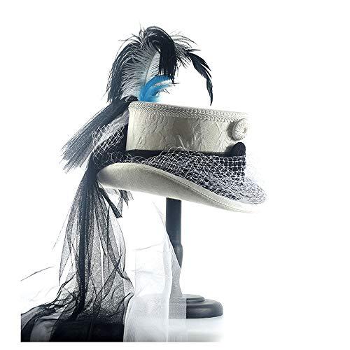 SQ Hat Sombrero Corset gótico Victoriano Negro y Marfil Encaje Boda Sombreros Gorra (Color : Blanco, tamaño : 55cm)