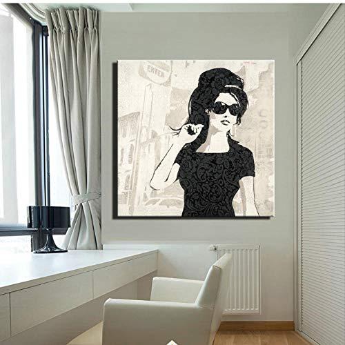 Cyalla Abstraktes Mädchen-Poster auf Leinwand, Motiv