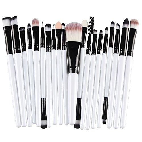 Pinceau de maquillage Poignee blanche tube noir - TOOGOO(R)20 pcs / kit kit de pinceau de maquillage l'outil de maquillage cosmetique en laine pinceau de maquillage Poignee blanche tube noir