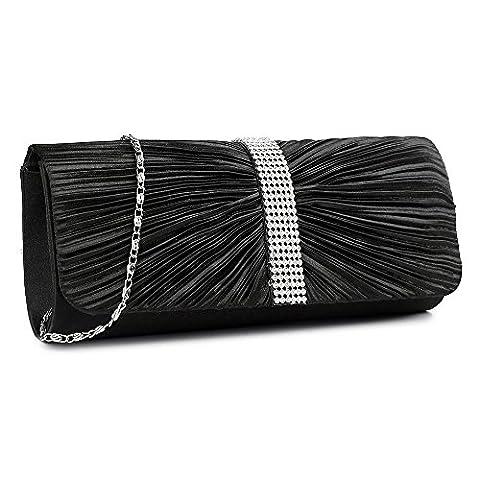 Womens Satin Pleated Diamante Clutch Bag Bow Wedding Bridal Prom Party Handbag Ladies Clutch Bags (Black)