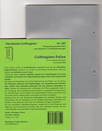Preisvergleich Produktbild Griffregister-FOLIEN 110 für die Dürckheim-Griffregister, zum Einheften und Unterteilen der Gesetzessammlungen mit original Dürckheim-Griffregistern